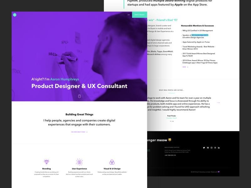 Personal Website & Portfolio homepage minimal portfolio home website freelance purple flatdesign flat webdesign design web