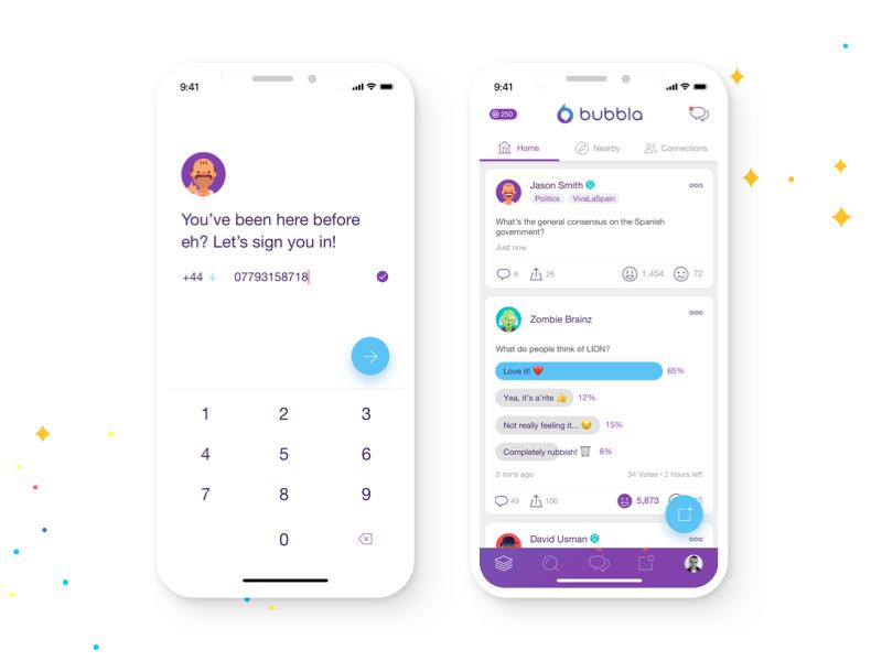 Social App UI minimal white clean purple iphone x app interface onboarding sign in vote feed ui
