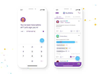Social App UI minimal white clean purple iphone x app interface onboarding sign in vote feed ui