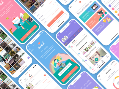 Cherish Moments App UI timeline child parent pastel white clean iphone x flat mobile ux ui app