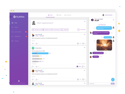Anonymous Web Platform purple white clean branding vote chat web platform web app web ux ui app