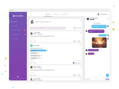 Anonymous Web Platform purple white clean branding vote chat web platform web app web ux ui app