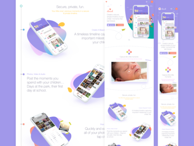 Responsive Web Landing Page responsive one pager landing page website web purple mobile app cherish