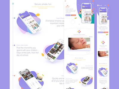 Responsive Web Landing Page responsive one pager landing page website web purple mobile app cherish