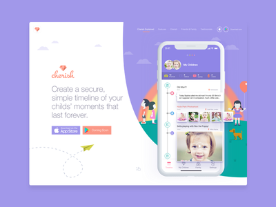 Cherish Landing Page Hero illustration ui brand hero timeline responsive landing page website web design mobile app cherish