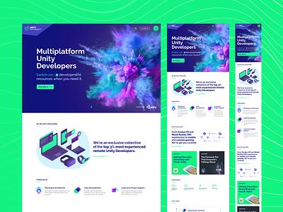 Unity Developers Website green product design ux ui web design wordpress website branding brand