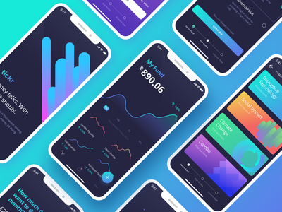 Investment Brand + App UI finance investment invest darkui fintech design app flat branding mobile ios gradient interface purple ux clean ui