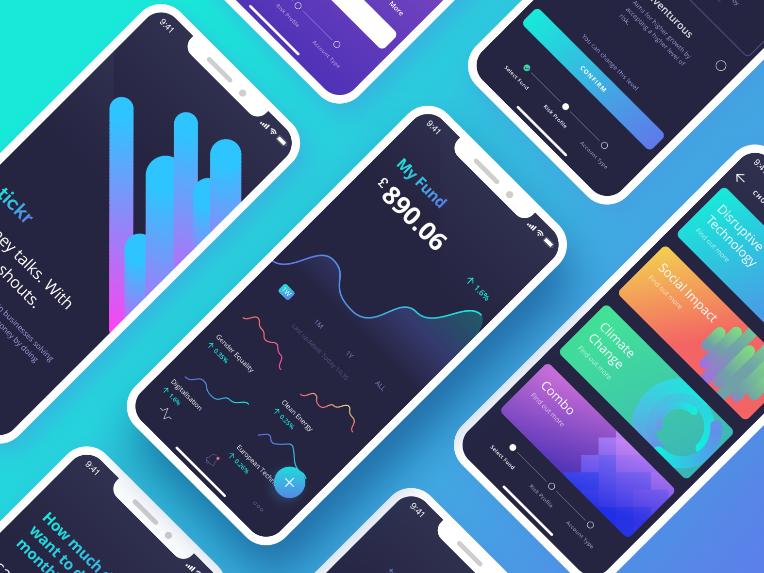Investment Brand + App UI finance investment invest darkui fintech design app flat branding mobile ios gradient interface purple ux clean ui