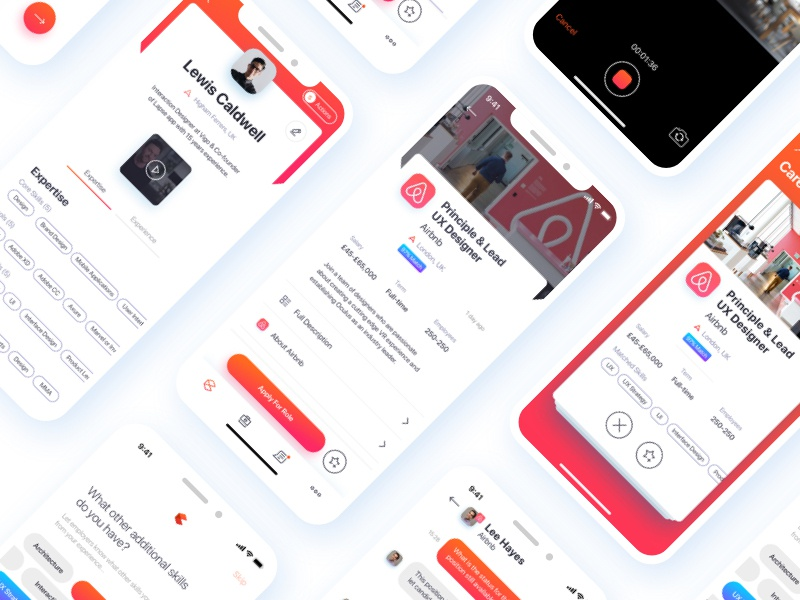 Recruitment App UI job board recruiters brands chat skills jobs recruitment app recruitment brand branding flat mobile ios gradient interface ux white app clean ui