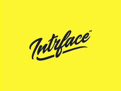 Intrface Product Design Consultancy Logo after effects vector type calligraphy logo mark logotype lettering typography branding logo design yellow motion animation script font brand script logo