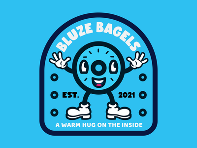 Bluze Bagels branding illustration badge logo mascot