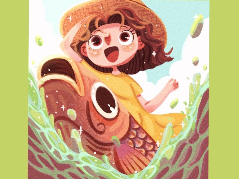 Marggie_Riding_the_KoiFish little girl lake koi fish fish animal kids illustration drawing illustration digital artwork illustration artist illustration design picturebook painting childrens illustration illustration art illustration