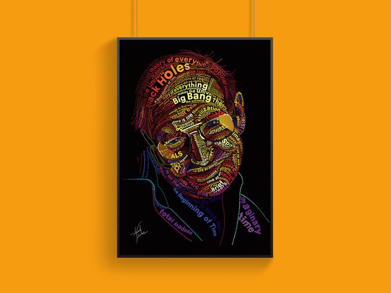 Typography Portrait - Stephen Hawking adobe illustrator vector art vector poster art inspiration designinpiration quotes stephen hawking stylized typography art color yellow illustration portrait typography typo