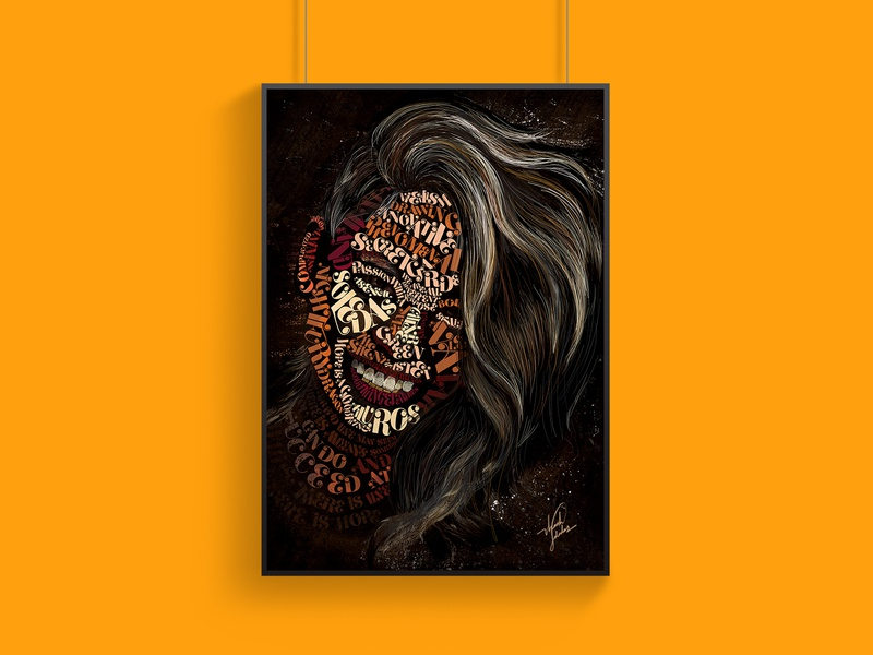 Typography My Portrait illustration color self portrait draw drawing poster design stylized font brush adobe ideation portrait typography art typography