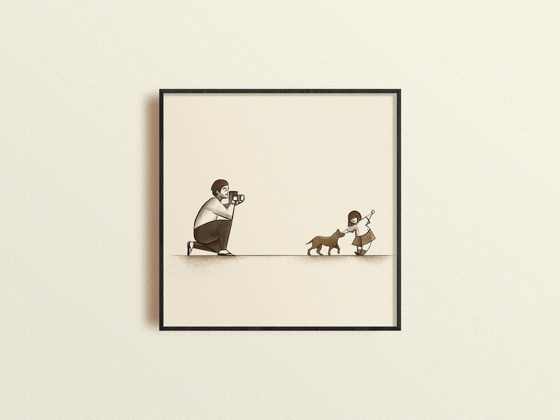 Play with Dad camera dog baby childhood home go home book drawing illustration art illustration dad