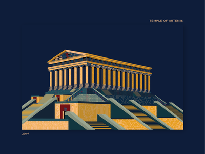 Book Ideation - #35 Temple Of Artemis by Book world wonder architecture 2019 temple temple of artemist ideation hamsa navy soledas thanh yellow red ai book illustration
