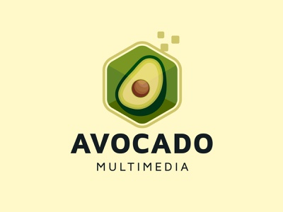 Digital Avocado Logo fruit gaming game multimedia media cloud host hosting server data online internet digital pixels pixel mexico mexican guacamole aguacate avocado