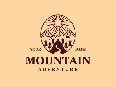 Mountain Landscape Logo logo template simple clean minimal crest emblem camp camping forest tree trees downhill hill peaks peak mountains sunshine sun landscape mountain