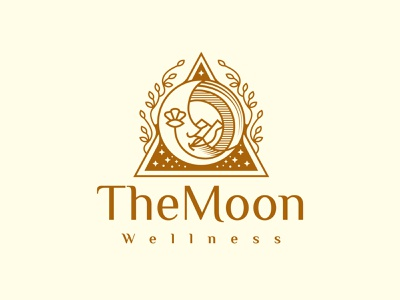 Moon Face Beauty Logo apparel fashion logotype logo template nature natural dreams night tarot cosmos sky stars mountain mountains landscape wellness beauty face moon