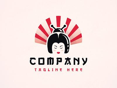 Geisha Bug Hair Logo ramen sushi logo beautiful girl gaming studio head logo face logo japanese food marketing media logo wellness and spa nails beauty salon logo clever concept creative design beetlee insect pai pai japan japanese art geisha