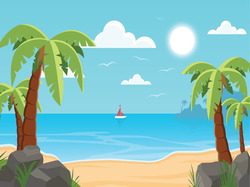 Summer Beach summerbeach summer beach ui landscape vector illustration adobe illustrator illustrator flat design
