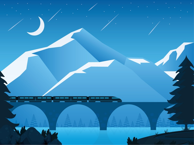 Night Train graphic illustration graphicdesign nighttrain train night landscape vector illustration adobe illustrator illustrator flat design