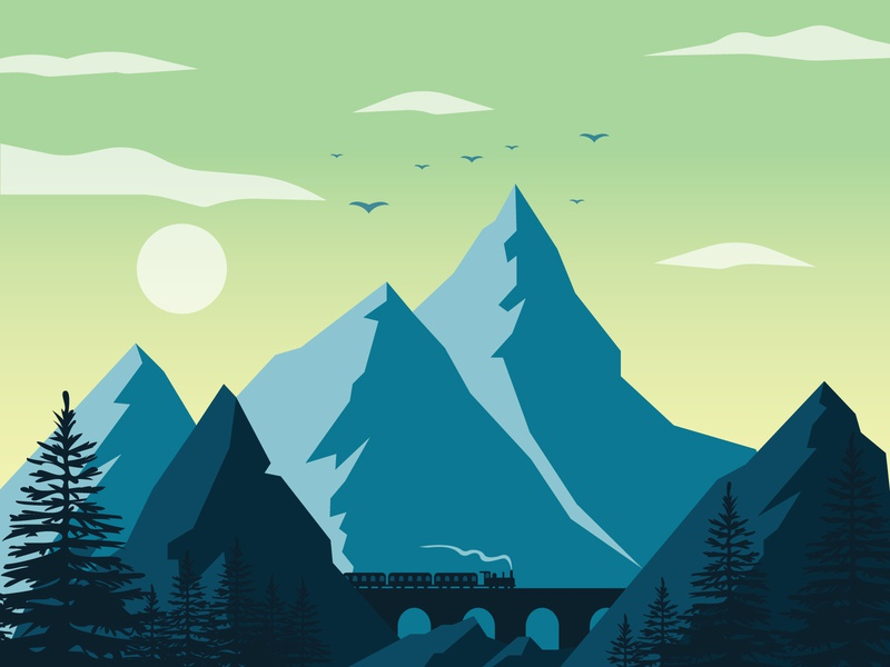 Through The Mountains train sunset landscape ui mountains vector illustration adobe illustrator illustrator flat design