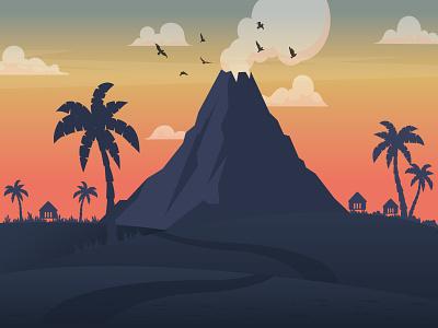 Volcano Beach sand palm palmtree volcano ui ai mountains beach sunset landscape vector illustration adobe illustrator illustrator flat design