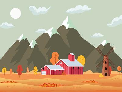Fall in the Mountains fields windmili farm barn mountains beach sunset landscape vector illustration adobe illustrator illustrator flat design