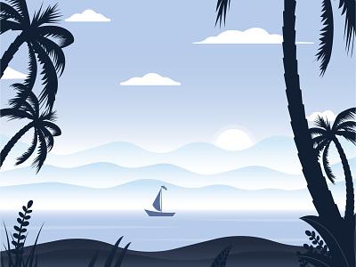 Sunrise Beach summer palmtree palm boat ocean sunrise mountains beach sunset landscape vector illustration adobe illustrator illustrator flat design