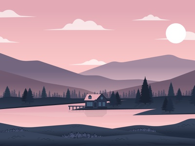 Evening in the Mountains landscapeillustration webdesign lake sunset mountains landscape vector illustration adobe illustrator illustrator flat design
