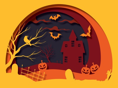 Halloween Mansion scarymansion halloween sunset landscape vector illustration adobe illustrator illustrator flat design