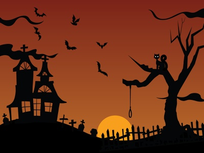 Halloween Haunted Cemetery halloween cemetery landscape vector illustration adobe illustrator illustrator flat design