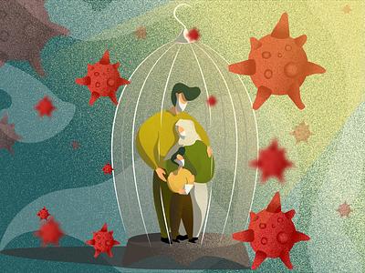 Quarantine Family Illustration artwork animation flat web vector design illustration