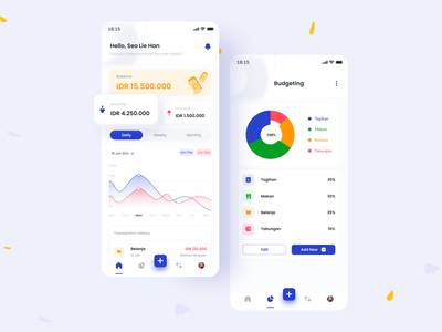 Homepage Money Management App illustration mobile app ux design ui mobile app design money transfer payment chart dashboard ui homepage finance app financial app money management money app