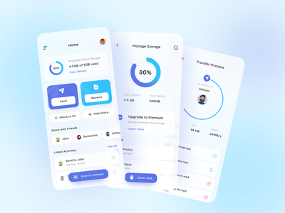 Transfer File Application | Exploration mobile ui design app file explorer app uiux mobile app illustration design ux ui clean design clean ui soft glassmorphism sharing app cloud storage cloud app file transfer file sharing file manager