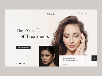 Beauty & Spa Homepage layout design hero section webdesign website design ux ui salon spa beauty monochrome clean ui minimalist homepage design homepage interaction design interaction animation