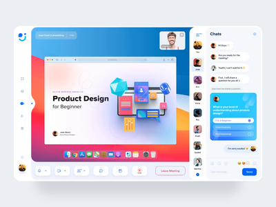 Meetly- Online Video Meeting website design vector website uiux illustration design ux ui colorfull 3d animation motiongraphics animation desktop design meeting calling app conference video meeting