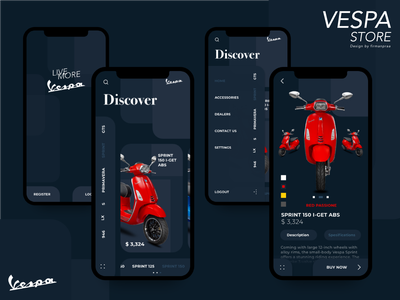 Vespa Store Mobile Apps vespa automotive mobile store app ui design ux illustration mobile app