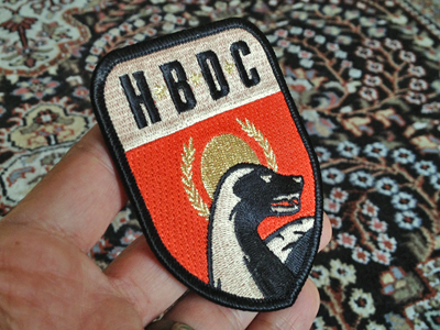 Badger Patch sxsw patch iron-on red gold vintage soviet honey badger league gothic