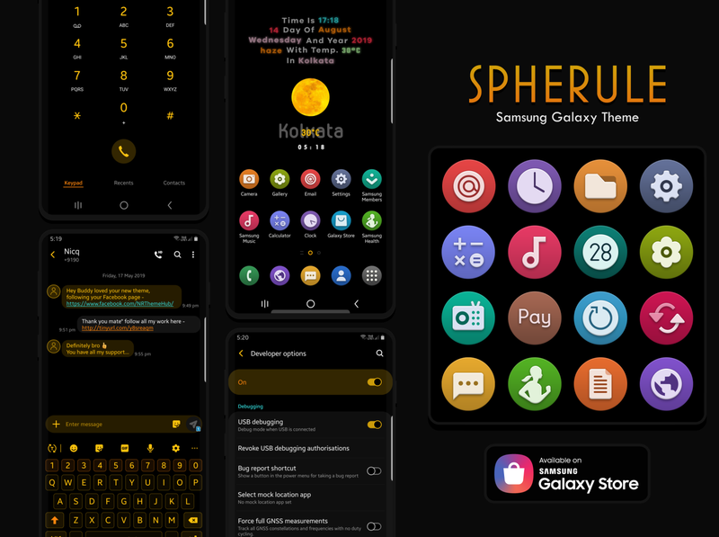 Spherule official theme dark app free icon theme samsung galaxy samsung