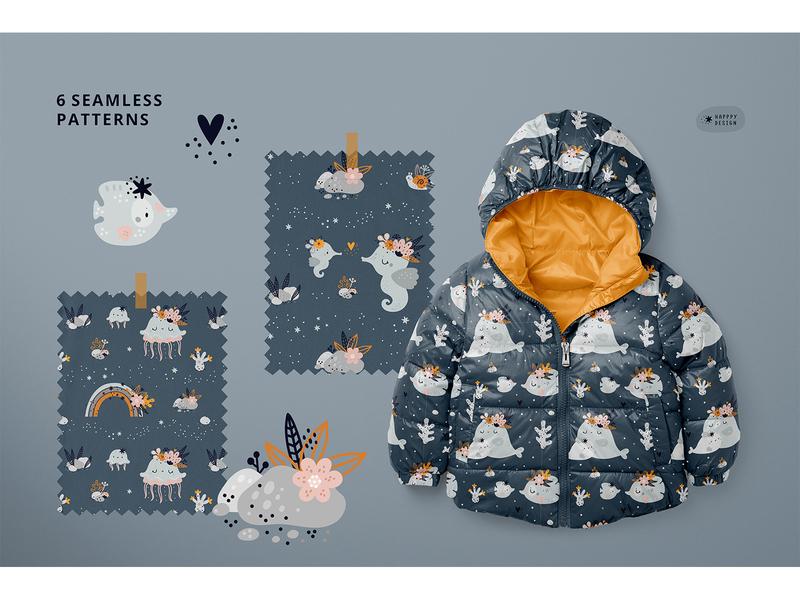 Print for kids with cute sea animals nursery print scandinavian ux design flat ui childish kids illustration illustration cartoon