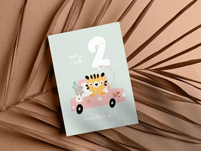 Milestone card for newborn ui design vector scandinavian character kids illustration illustration childish cartoon