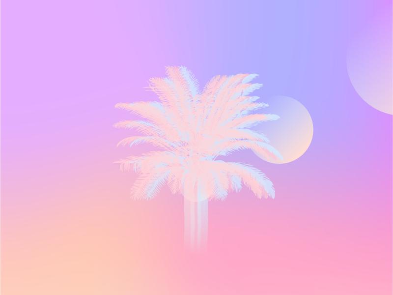 Vapo(u)rwave 80s retro pink orange vaporwave lens flare pastel palm tree
