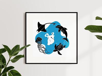 Anthropocene, illustrated — Plastic pollution pollution marine wildlife art plastic print design anthropocene procreate art nature animals illustrated animals design illustration biodiversity sustainability