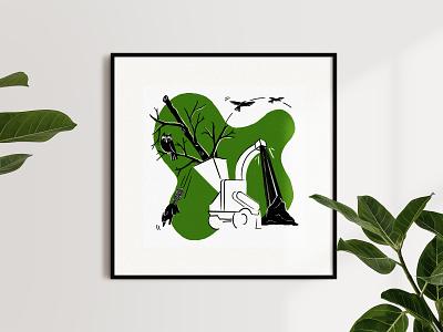 Anthropocene, illustrated — Logging print design woods logging deforestation animals anthropocene illustration biodiversity sustainability