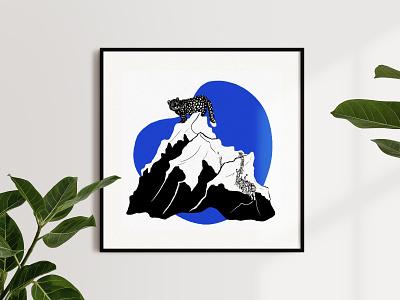 Anthropocene, illustrated — Tourism pollution environmental impact hiking nature anthropocene endangered species snow leopard mountains animals illustration biodiversity sustainability