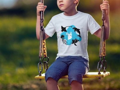 Plastic pollution t-shirt design marine life t-shirt illustration illustration appareal children clothes plastic pollution plastic t-shirt nature earth-friendly animals biodiversity sustainability