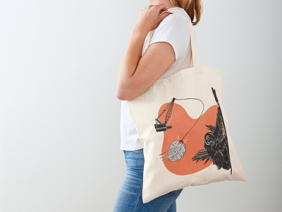Palm oil tote bag orangutan habitat loss wildlife apparel palm oil conservation animals illustration earth-friendly biodiversity sustainability
