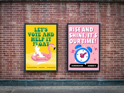 "Protest by Design ""VOTE!"" Posters climate change climate election design for good alarm clock illustration flamingo vote poster art poster design"